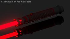 """""""Crimson"""" saber all lit up."""