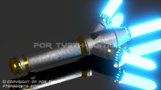 """New Asguard Saber"" hilt ignited."